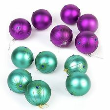 12 Pc Luxury Christmas Tree Baubles Decoration Set - Peacock Purple / Turquoise