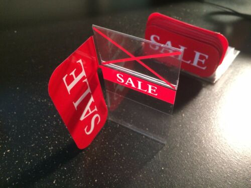 25X SHELF//DISPLAY CASE PLASTIC SALE SIGN FOR RETAIL//MULTIPURPOSE SALE NEEDS RED