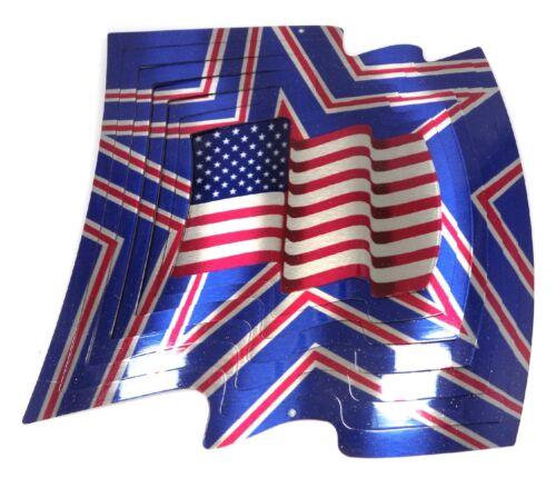 WorldaWhirl Whirligig 3D US American Flag Wind Spinner Stainless Kinetic Twister