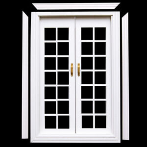 1-12-Scale-Dolls-House-Furniture-Miniature-Exterior-Wooden-French-Door-White