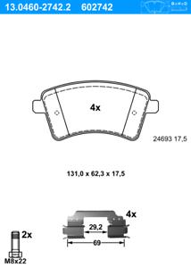 PER RENAULT KANGOO BE BOP 13.0460-2742.2 ATE Pastigliecon accessori frontale