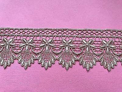 "/""Laces Galore/""Rose Gold Lace Guipure Venise Trim  2/"" wide  Craft"