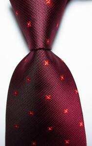 New-Classic-Polka-Dot-Red-JACQUARD-WOVEN-100-Silk-Men-039-s-Tie-Necktie