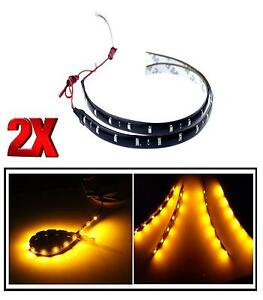 2X-Ambra-30-cm-12-LED-SMD-3528-Striscia-Corsa-DRL-Auto-Casa-Luce-Waterproof-12V