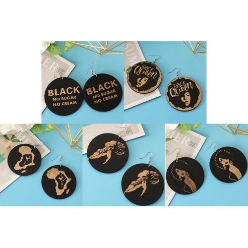 5x boucles d/'oreilles en bois rondes pendantes goutte style africain punk