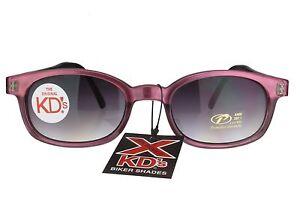 X KD's Sunglasses Original Biker Shades Motorcycle Purple Pearl Gray 1116