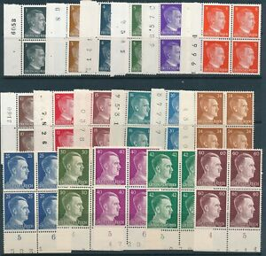 Lot-Stamp-Germany-Blocks-WWII-3rd-Reich-AH-Adolf-Hitler-HAN-Plate-Numbers-MNH