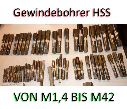 Gewindebohrer HSS TAP M1.4 bis M42  BESTES ANGEBOT