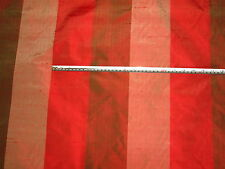 James Brindley Colour Woven Red & Natural Striped 100% Pure Silk Fabric, 2.5 mts