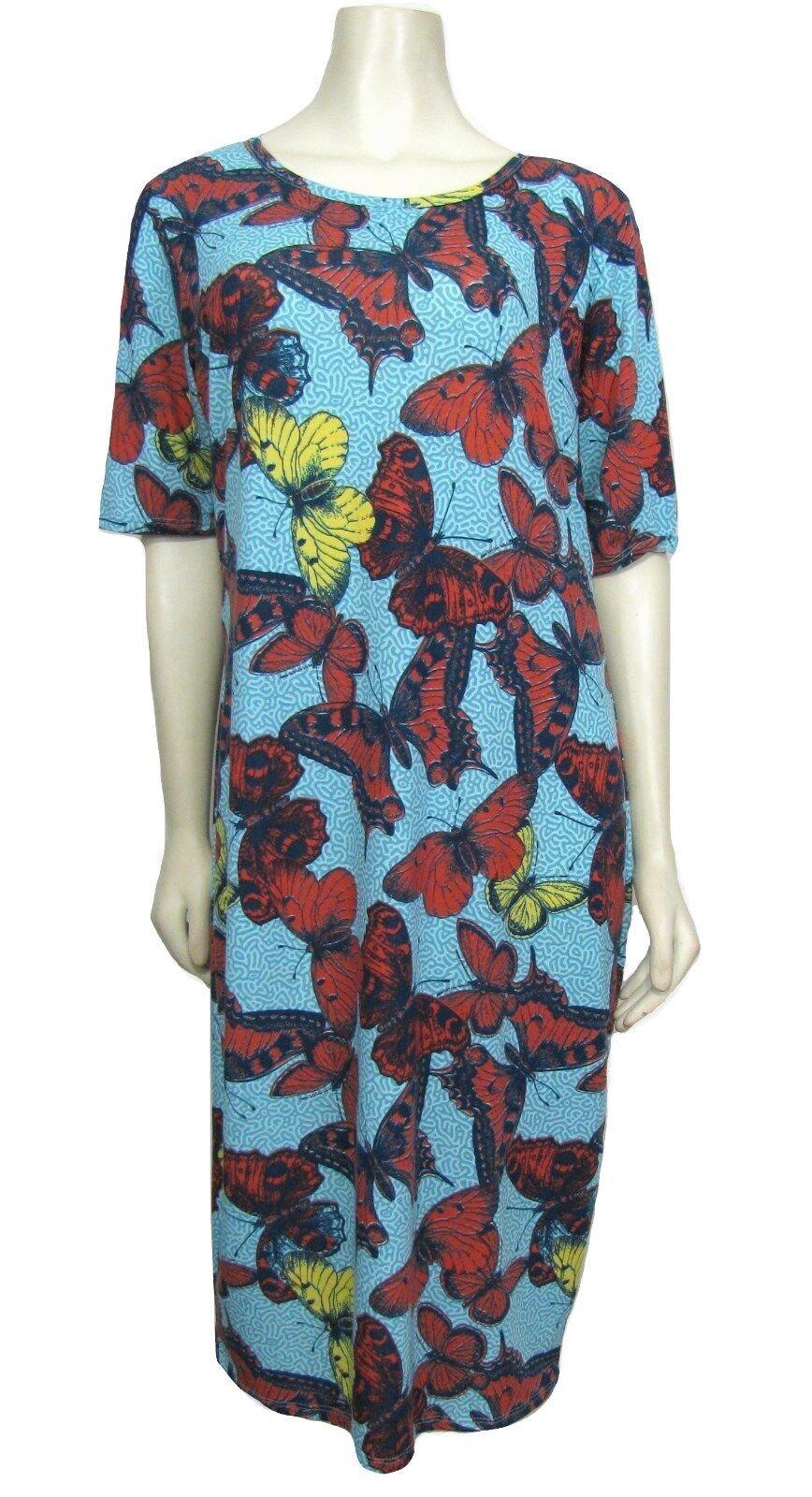 NWT LuLaRoe Julia 2XL Butterfly Dress bluee & Red Butterflies Unicorn 18 - 20