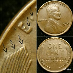 Details about 1930-D DDR-001 AU Doubled Die Reverse Lincoln Cent Wheat Penny