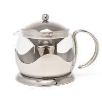 La Cafetiere Tea Pot 1200ml 4 Cup Stainless Steel Filter Glass Beaker Steel New