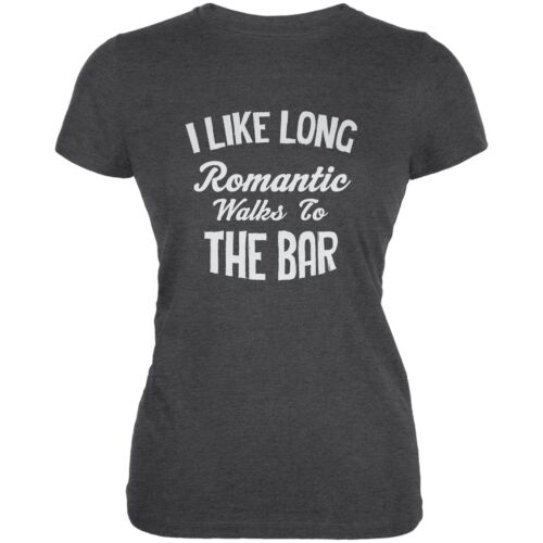 Long Romantic Walks To The Bar Dark Heather Juniors Soft T-Shirt