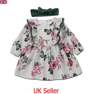 f818dd9e1 Toddler Baby Girls Kids Floral Princess Dress Party Dresses Headband ...