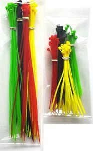 120-Attaches-De-Cables-Set-Assortiment-Couleur-Plastique-Nylon-Tidy-rouge-jaune-vert-noir-CH1