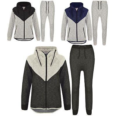Kids Boys Girls Contrast Panel Tracksuit Black Hooded Top /& Bottom Jogging Suits
