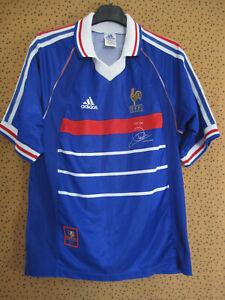 Détails sur Maillot EQUIPE DE FRANCE Mondial 1998 Vintage Adidas Pour toi Zidane S