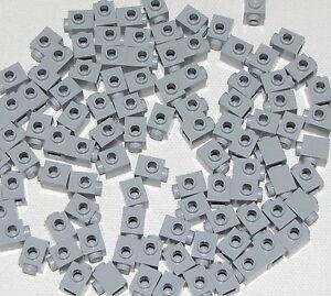 Lego-Lot-of-100-New-Light-Bluish-Gray-Bricks-Modified-1-x-1-w-Stud-on-1-Side