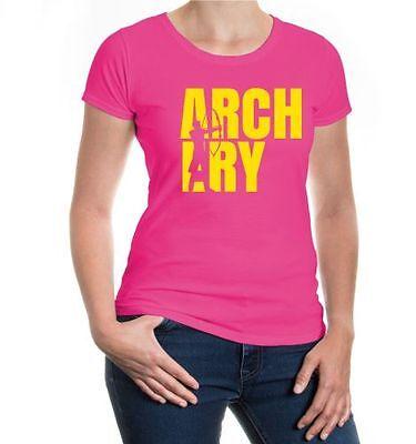 Da Donna A Maniche Corte Malvagia T-shirt Archery Type Arco Sparare Schießsport Sagittario- Ampie Varietà