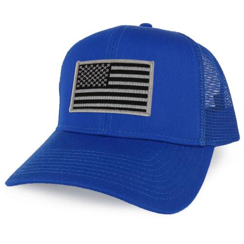 FREE SHIP XXL Oversize Black Grey USA Flag Patch Mesh Back Trucker Baseball Cap