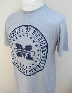 Men-039-s-American-Freshman-Michigan-Short-Sleeve-T-Shirt-Top-Tee-Cotton-S-M-L