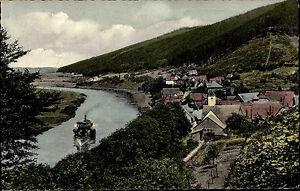 1950-60-Schiffe-Schiffahrt-Fluss-Weser-Dampfer-Schiff-bei-Ruehle-Weserbergland