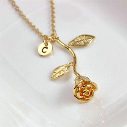 Charm Lettre Fleur Rose Collier Pendentif plaqué or Femmes Collier Bijoux le