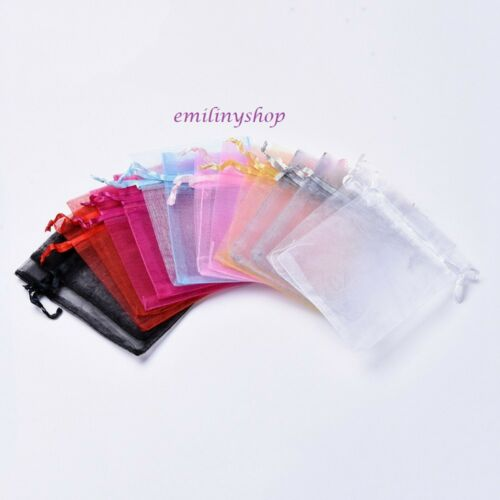 Lot 10 organza pouch bag multicolor 8 x10 cm gift wedding baptism jewelry