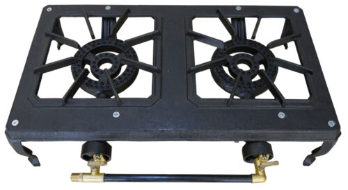Double 2 Burner Country Cooker Cast Iron LPG Gas Camp Stove Hose Regulator BBQ