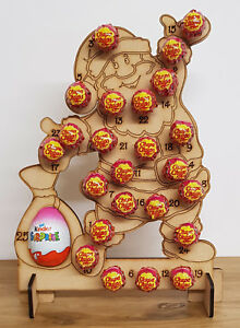 WOODEN-CHRISTMAS-ADVENT-CALENDAR-FITS-24-CHUPA-CHUPS-LOLLYPOP-039-S-AND-1-KINDER-EGG