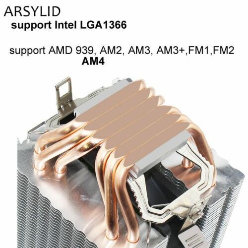 High quality 4PIN CPU cooler 115X 1366 2011,6 heatpipe dual-tower cooling 9cm