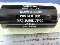 Hc5040 Mallory Electrolytic Capacitor 4000uf 50vdc Computer Grade Usa [e5s4]