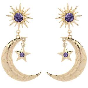 Big-Gold-Star-Moon-Women-Elegant-Fashion-Earrings-Drop-Dangle-Blue-Crystal