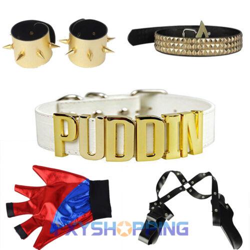 Harley Quinn Zubehör Armband Kragen Holster Gürtel Kostüme Cosplay Party 5tlg DE
