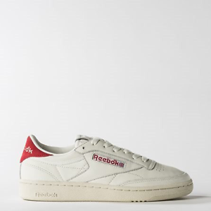 98e7dded24d38 New Womens REEBOK CLUB C 85 TG Vintage WHITE RED BS7033 US 5.0 ...