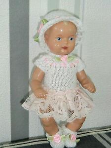 2-tlg Set Outfit  Kleid Mütze Schildkröt SK Strampelchen  Baby  Puppen 16 cm