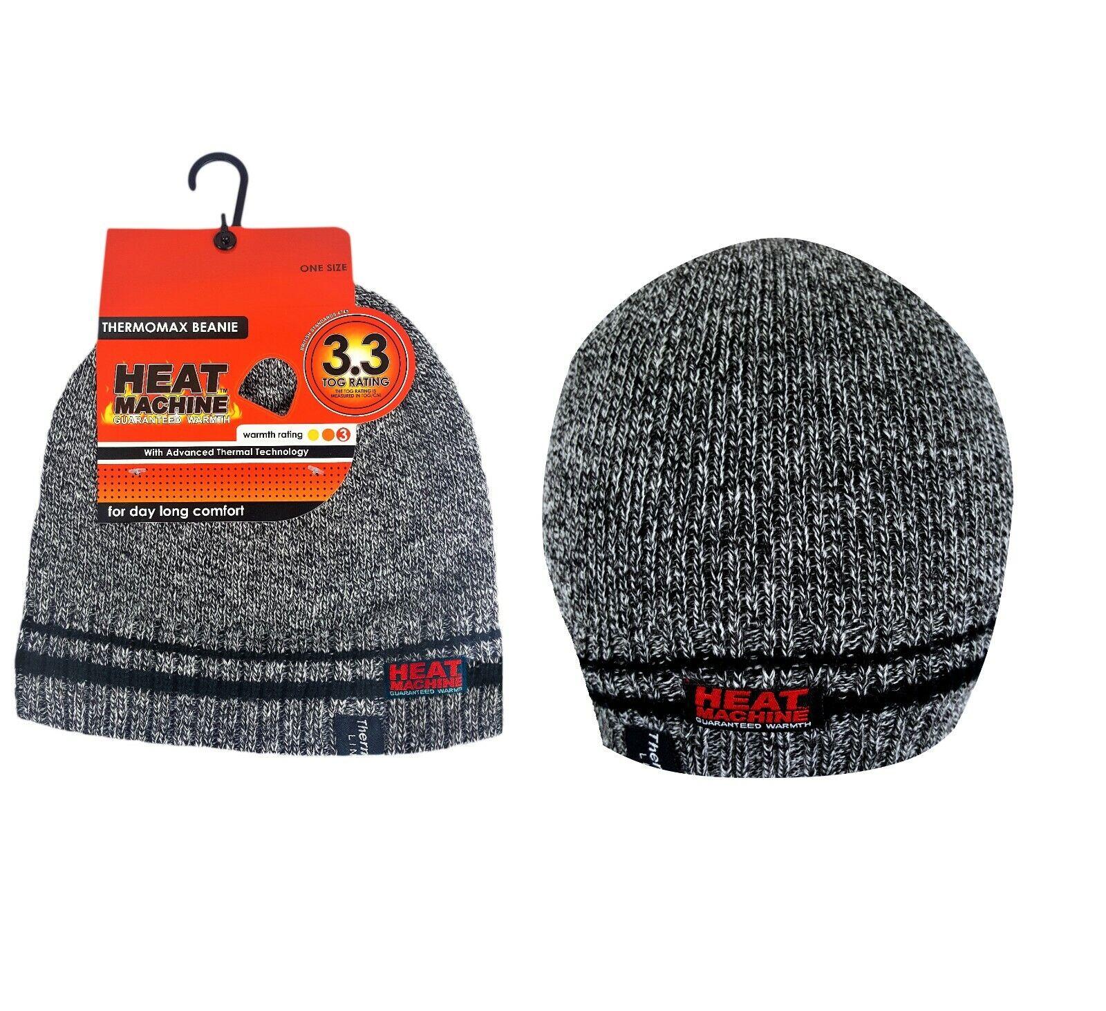 Mens Wool Thermal Beanie Hat Warm Double Fleece Lined