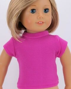 Magenta-T-Shirt-fits-American-Girl-Dolls-18-inch-Doll-Clothes-Short-Sleeve