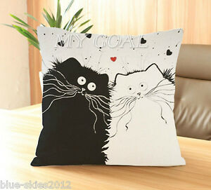 Black CAT Beside White CAT CottonLinen New CUSHION COVER Ralph Steadman StyleUK - <span itemprop=availableAtOrFrom>London, London, United Kingdom</span> - Black CAT Beside White CAT CottonLinen New CUSHION COVER Ralph Steadman StyleUK - London, London, United Kingdom