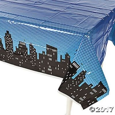 """Hero Party Tablecover Plastic 54/"""" x 108/"""" Superhero Party Supplies Decorations"""