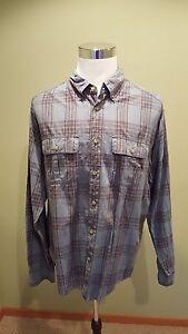 Eddie-Bauer-Men-039-s-Long-Sleeve-Button-Down-Blue-Plaid-Shirt-XXL