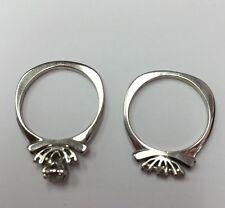 Vintage 14K WHITE GOLD 2 Ring Diamond Wedding RING Set SZ 6 & 4.5gr