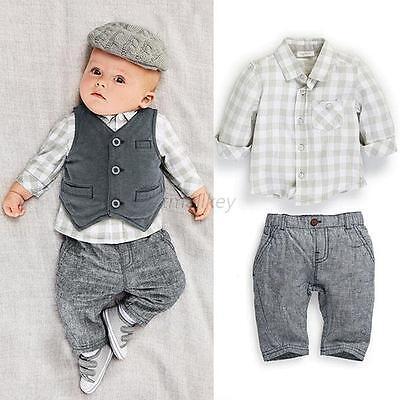 Newborn Baby Boy Gray Waistcoat + Pants + Shirts Clothes Sets Suit 3PCS Tops T81