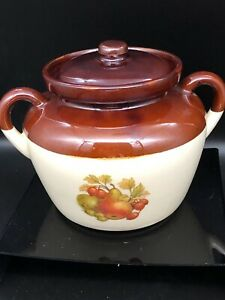 McCoy-Pottery-342-Bean-Pot-Brown-Drip-Fruit-Pattern-Ovenproof-Vtg-Double-Handle