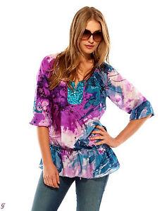 Seiden-Tunika-Shirt-Top-Bluse-Pailletten-lila-bunt-Gr-40-NEU-SALE-Sommer-037