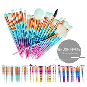 20PCS-Eye-Make-up-Brushes-Diamond-Unicorn-Eyeshadow-Eyebrow-Blending-Brush-Set