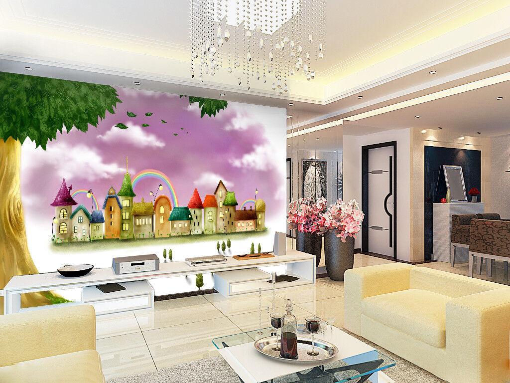 3D Graffiti Häuser Regenbogen 8 Tapete Wandgemälde Tapeten Bild Familie DE Lemon