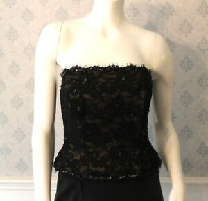 Designer-Victor-Costa-Black-Beaded-and-Sequin-Strapless-Top