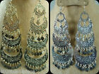 Tribal Metal Belly Dance Earrings Dancing Dangle Coins Egypt Jewelry Gypsy 110