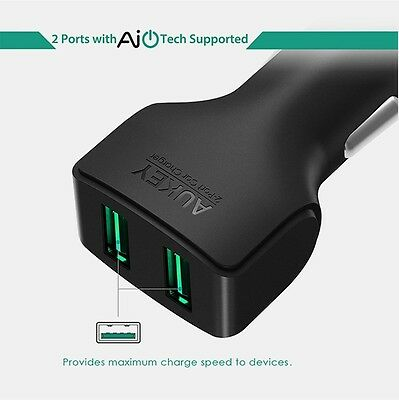 Lot 2pct AUKEY Car Charger 24W/4.8A 2-Port USB Car Charger